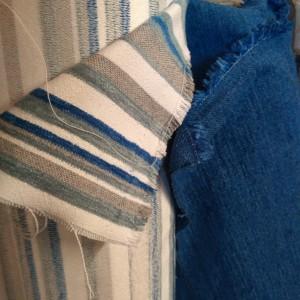 rotoli tessuto righe bianche e blu